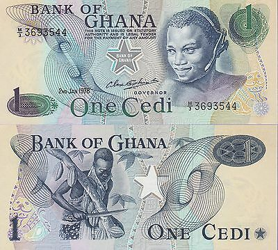 Ghana 1 Cedis Banknote 2.1.1978 Uncirculated Condition Cat#13-D-3544