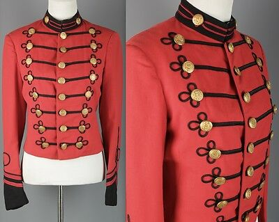 VTG Women's 1930s Red Band Jacket #1503 30s Sgt Pepper Brass Buttons Uniform