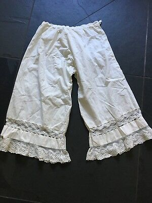 Victorian Edwardian Bloomers Pantaloons Cotton With Beautiful Lace
