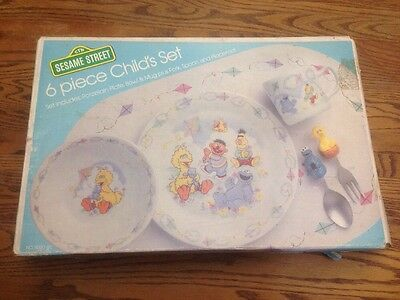 Sesame Street Flying A Kite 6 Piece Child's Dinner Ware By Newcor New With Box