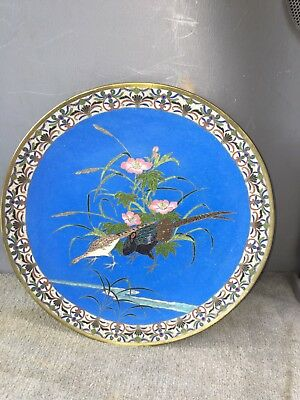 "12 1/8"" Japanese Cloisonné Charger W/birds"