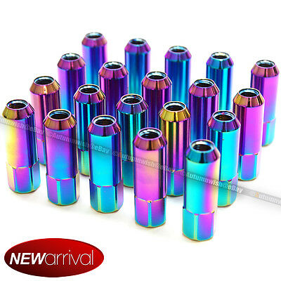 For Honda Acura M12 X 1.5 mm Neo Chrome Open End Aluminum Lug Nuts Set Of 20