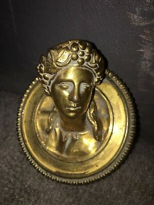 "1890's 3 1/8"" Brass Female Bust Plaque Pediment"