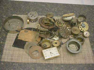 Huge Lot Clockmaker Alarm / Cuckoo Brass Movements Parts Gears SteamPunk D325