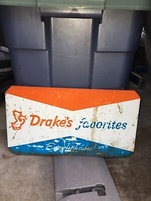 """1960's 14 1/2"""" Drakes Cakes Sign"""
