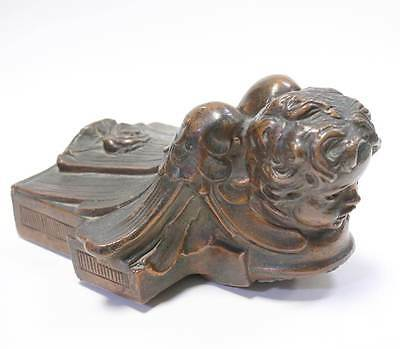 Antique Library Light Figural Cherub Angle Fixture Circa 1910