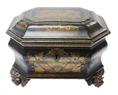Antique Chinese Black Lacquer Tea Caddy Gold Gilt