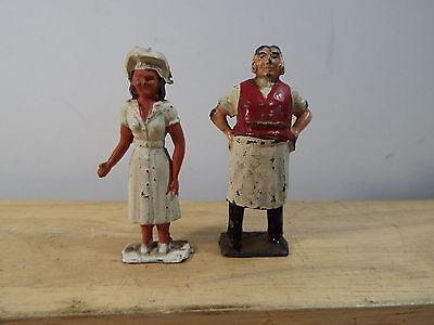 Unknown Lead Hand Painted Male Butcher And Female Cook