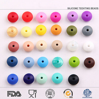 50Pcs Lentil Silicone Teething Beads DIY Baby Teether Chewable Jewelry BPA-Free
