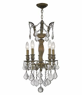 "5-Light Antique Bronze Finish D13"" H23"" Tranditional Clear Crystal Chandelier"