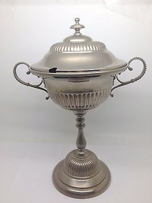 Silverplate Pedestal Serving Bowl With Gold Wash