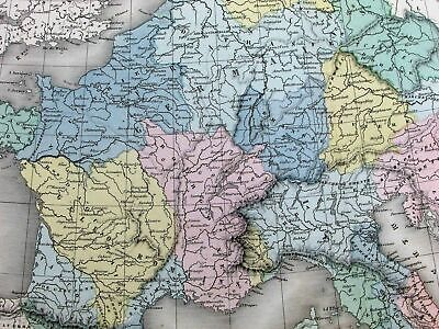 Empire of Charlemagne 8th century Germany 1865 Dufour huge antique handcolor map
