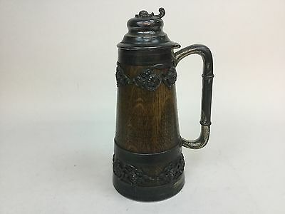 """Antique 1905 Quad Plate Overlay on Wood Beer Stein St. Louis Silver Co 11"""""""