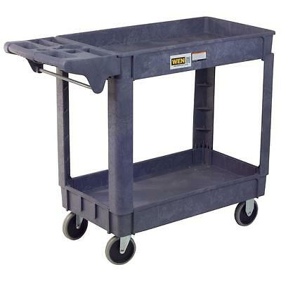 Service Cart Gray Accent 2 Shelves 500 lbs Capacity Utility Rolling Tool Storage