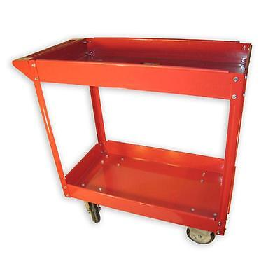 Service Cart Red Accent 2 Shelves 600 lbs Capacity Utility Rolling Tool Storage