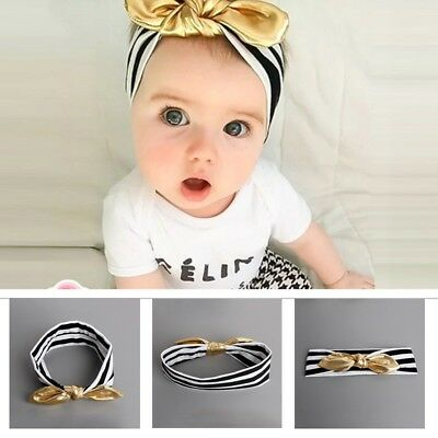 Newborn Baby Cotton Gold Headband Knotted Bow Head Wraps Kids Hair Accessories