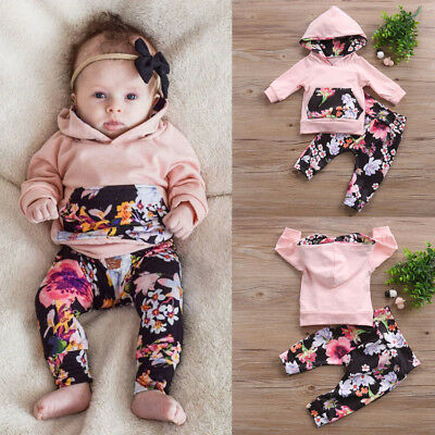 Flower Toddler Newborn Baby Girl Hooded Top+Long Pants Outfits 2PCS Clothes Set