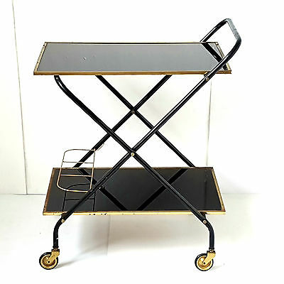 Table 50's Pedestal Table Serving Maid Bar 1950 Vintage Glass & Brass Years 50