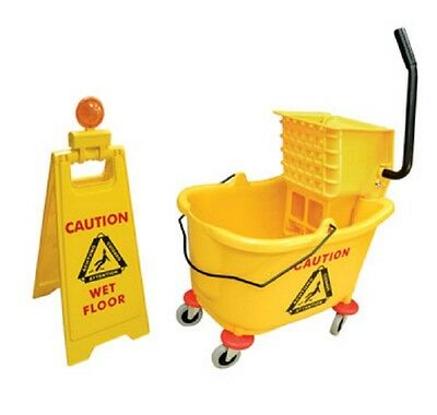 Mop Bucket Wringer and Caution Sign Foldable 36L Heavy Duty Warning Text Wheeled