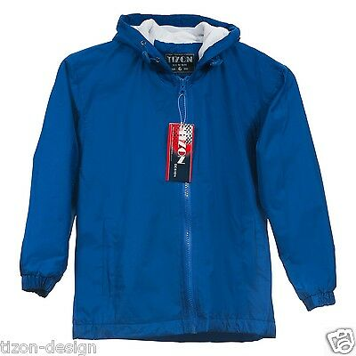Children Kids Raincoat Royal Blue Size 7-8 Towel Lined