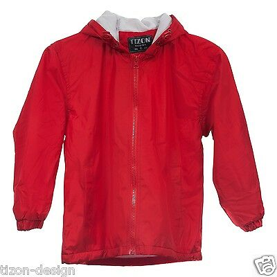 Children Kids Raincoat Windbreaker Jacket Red Towel Lined Size 9-10