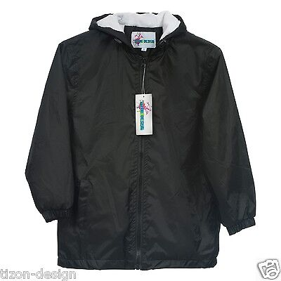 Children Kids Raincoat Jacket Towel Lined Black Size 12