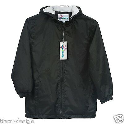 Children Kids Raincoat Jacket Towel Lined Black Size 14