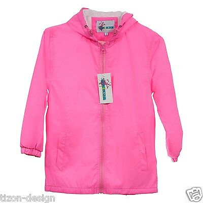 Children Kids Raincoat Windbreaker Jacket NEON PINK Size 6