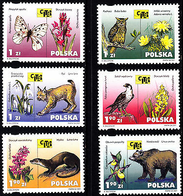 Poland 2001 Wild Animals and Plants Endangered Complete Set of Stamps, MNH