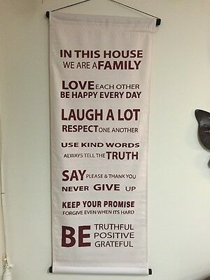 "Affirmation Hanging Banner, ""House Rules""Cream Heavy Duty Cotton with Red Words"