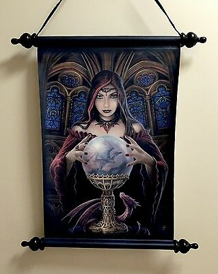 "Anne Stokes Scroll "" Crystal Ball "" 51cm X 44cm, Comes Boxed, New"