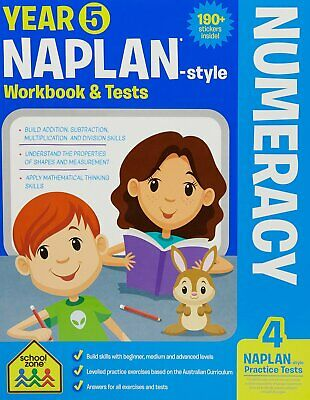 School Zone Year 5 Naplan-Style Numeracy Workbook and Tests NEW - Free Postage