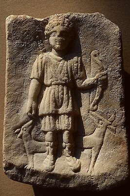 Greek Hellenistic Marble Tablet, 400 Bc, Hunter With Two Dogs