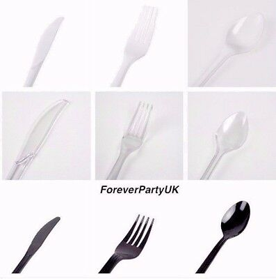 100 Heavy Duty Disposable Plastic Cutlery Clear Black White Spoons Forks Knives