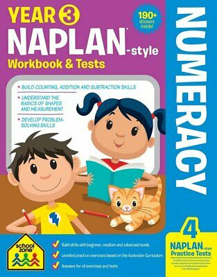 School Zone Year 3 Naplan-Style Numeracy Workbook and Tests NEW - Free Postage