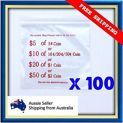 Plastic Coin Money Bag Ziplock Click-seal Reusable QTY 100