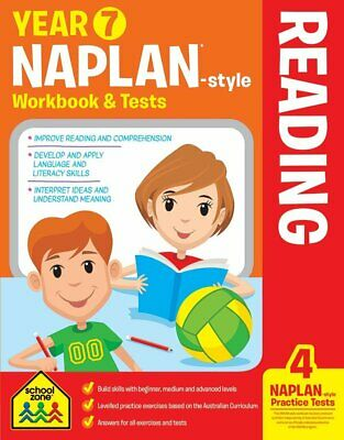 School Zone Year 7 Naplan-Style Reading Workbook and Tests NEW - Free Shipping!