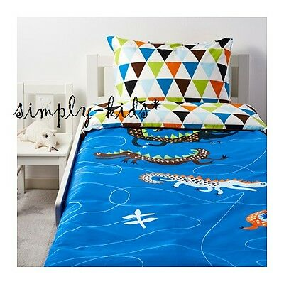 New Ikea Kids Twin Duvet Quilt Cover Set Blue Orange Drakdjur Crocodiles