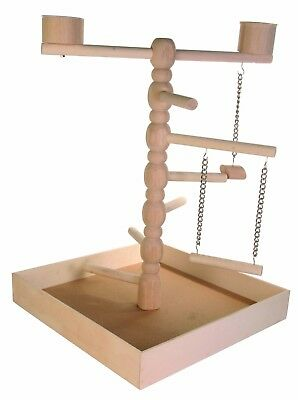 Bird Play Wooden Stand Parrot Playground Toy Perch Swing Game Perches Arena Cage