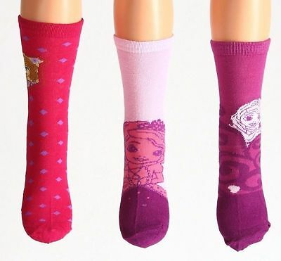 3 Pack Girls Socks New Disney Sofia The First Age 2-3, 4-6, 7-9 Yrs Pink Cotton