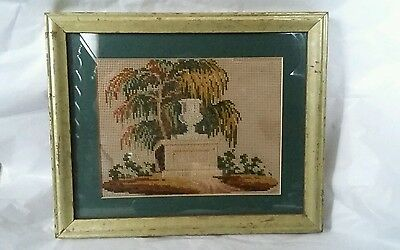 Antique Victorian Georgian Mourning Grave Yard Tomb Needlepoint Embroidery
