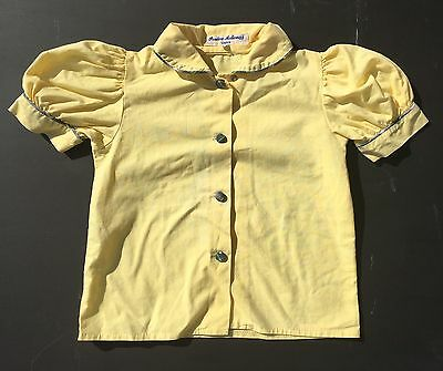 Vintage 6s0 70s Yellow Cotton Puff Short Sleeve Blouse Shirt Age 3 4