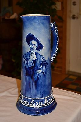 "14 1/4"" After Confession 1895 Blue China Tankard Pitcher"