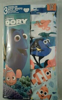 Boys Toddler New 3 Pair Disney Finding Dory Briefs 100% Cotton Size (2T/3T) 6067