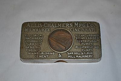 Allis Chalmers Milwaukee Advertising Metal Paperweight early 1900's