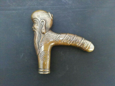 Asian Chinese Old Hand Bronze Carved Buddha Sage Statue Walking SticK Head
