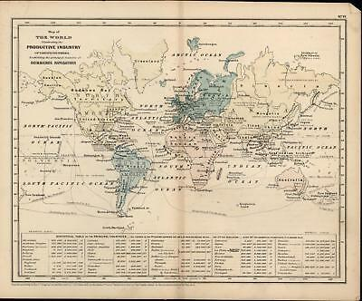 Industry commerce navigation business of the world 1855 old antique color map