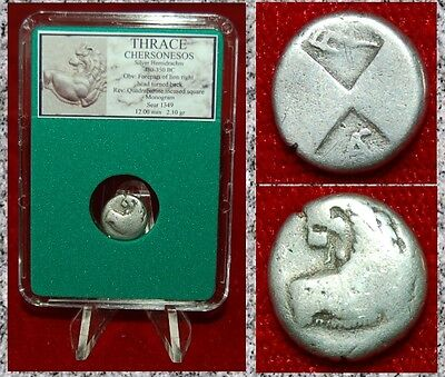 Ancient Greek Coin Thrace CHERSONESOS Forepart Of Lion Obverse Silver Hemidrachm