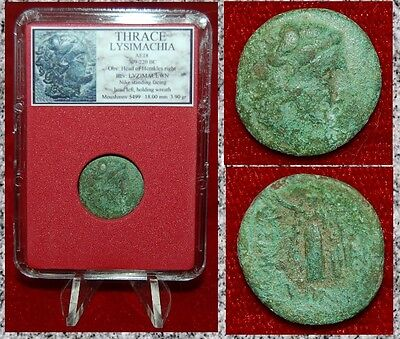 Ancient Greek Coin LYSIMACHIA THRACE Herakles and Nike Holding Wreath on Reverse