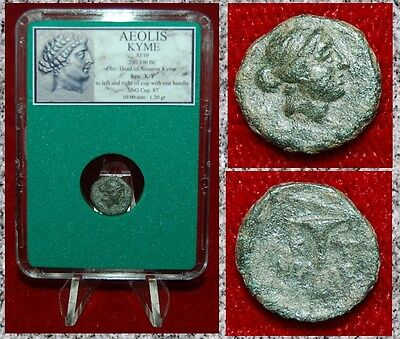 Ancient Greek Coin AEOLIS KYME Head of Amazon Kyme One Handled Cup On Reverse